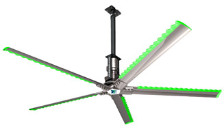 Whalenado Fan Image showing airfoils, Nord gearmotor and an extended mounting option